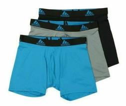 3 Pck Men Adidas Climalite PERFORM Boxer Briefs Black Blue L