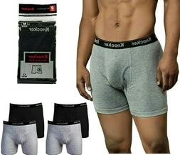6 Pack Mens Boxer Briefs 100% Cotton Black Gray Underwear Lo