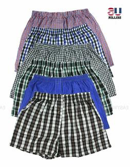 Lot 3 or 6 Pack Men Cotton Boxer Briefs Check Plaid Woven Sh