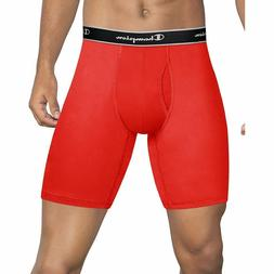 Champion Tech Performance Long Leg Boxer Briefs Red and Blac